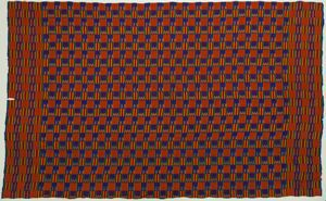 Image of Ashanti multi-colored Kente cloth with blue-fringed edges
