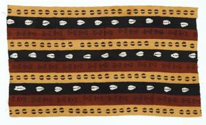 Image of Mud cloth with cowrie shells and geometric shapes against maroon, black and mustard background