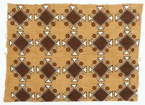 Image of Mud cloth with abstract geometric pattern in brown, black and white