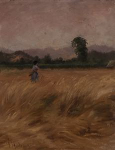Image of Woman Walking in a Field