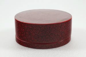 Image of Betel Nut set: Round lacquer box with red and black floral motif