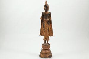 Image of Ascetic Buddha on three-tiered lotus base, Early Ayudhya Period