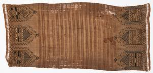 Image of Burial cloth with brown striations and geometric designs
