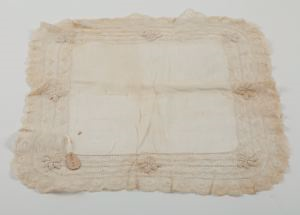 Image of Handkerchief, lace edged lawn; 2 widths of insertion and 1 of lace (Valencienne)