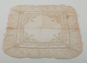 Image of Handkerchief, lace edged lawn with insertion inset, Valencien