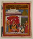 Image of Prince Krishna Kneeling Before Consort (Radha) - from album illustrating the Kavi Priya of Keshar Das