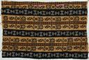 Image of Bamana cloth with abstract geometric designs and floral designs in brown and black