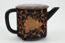 Image of Black and gold lacquer tea pot with lid