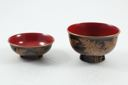 Image of Lacquer soup bowl with lid, seaweed design in gold on exterior, red lacquer interior
