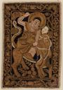 Image of Embroidered panel, possibly from a Buddhist priest's mantle, depicting the Bodhisattva, Manjusri, on a lion with attendant