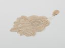 Image of Lace inset: duchesse lace with applique on net and oval inset of Brussels rose