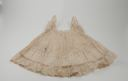 Image of Child's slip with lace bottom and sleeves with drawstring at neck