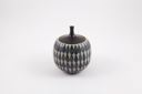Image of Black Lidded Pot with Blue and Black Tear Drop Glazes