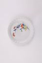 Image of Kakiemon porcelain plate, scallop rim in red, blue and green floral design