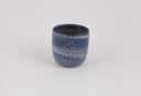 Image of Blue Engobe Stoneware Cup Decorated in White with Human Forms