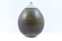 Image of Stoneware Vase with White, Green and Black Stripes