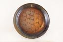 Image of Stoneware Bowl in Blue and Brown with an Abstract Pattern of Birds